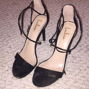 Lulu's Lace Up Black Heels